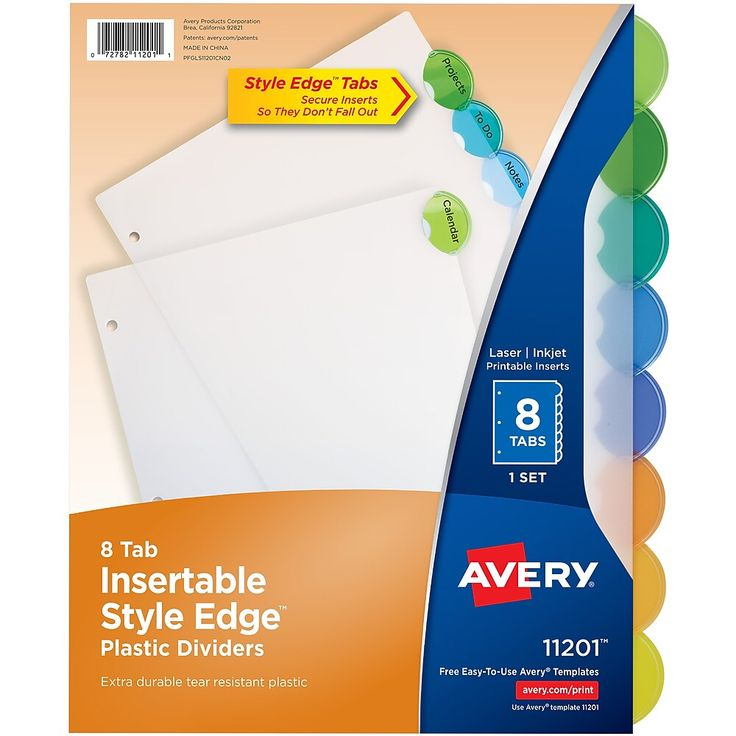 Avery Style Edge Insertable Plastic Dividers 8 Tab Multicolor 11201 Staples Binder Dividers Binder Tabs Home Management Binder