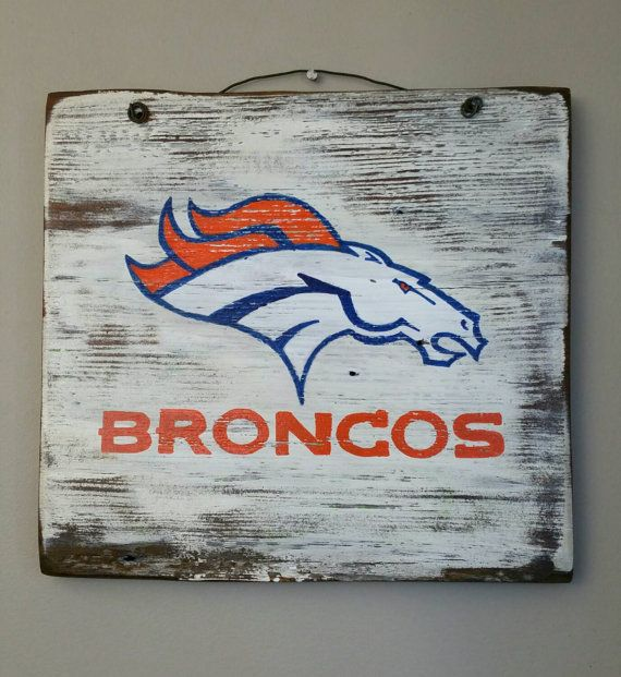 Denver Broncos handpainted sign on reclaimed by BoardStiffStuff