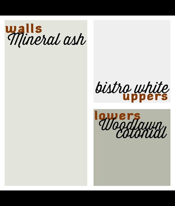 Valspar great kitchen scheme. Modern Farmhouse Kitchen Paint Scheme. Valspar Mineral Ash, Valspar Bistro White, Valspar Woodlawn Colonial @Salem