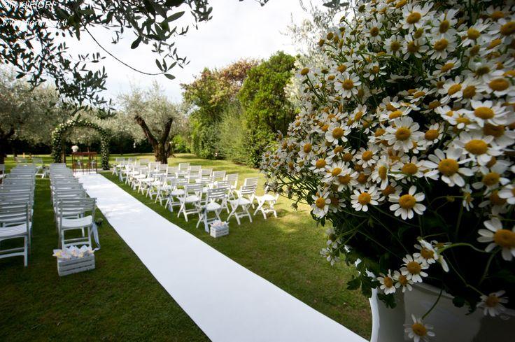 Matrimonio nel parco di La Casa di Papi con composizioni floreali di camomilla.