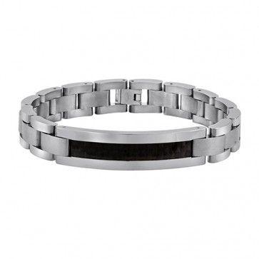 Revv Collection, Titanium With Carbon Fibre 8.5 Inch Gents Bracelet