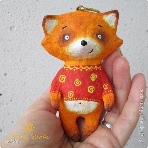 Игрушка Новый год Папье-маше Ёлочная игрушка лиска Вата Клей Краска фото 1