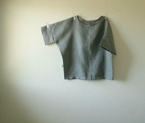 GREY LINEN BLOUSE / linen shirt / womens linen clothing /