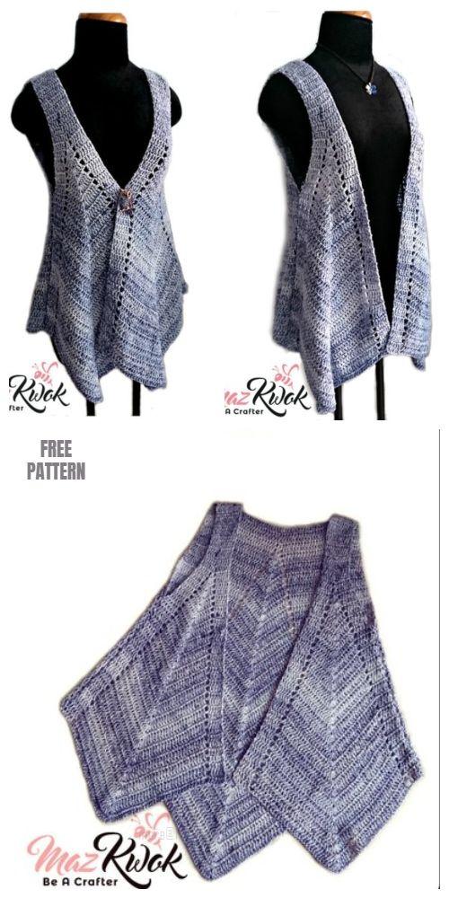 Crochet Women Pointed Hem Vest Free Crochet Patterns 3