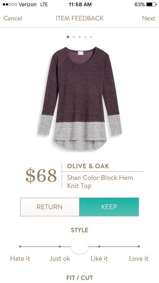 Olive and Oak Shan Color Block Hem Knit Top - plum gray - Stitch Fix 2016