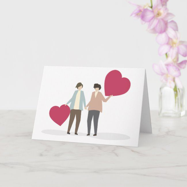 Lesbian Couple Romantic Valentines Day Anniversary Card Zazzle Com Romantic Valentine Anniversary Cards Valentines Cards