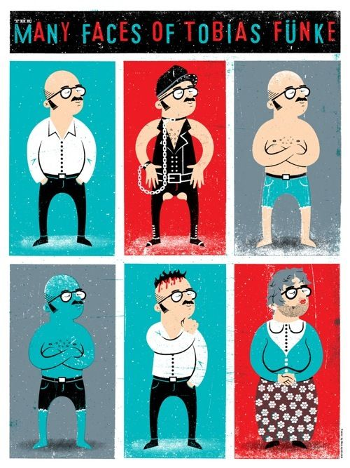 The Many Faces of Tobias Funke by Doe Eyed: Faces, Funke Arrested, Movie, Development Print, Arrested Development S, Design