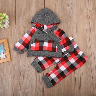 Fashion Kids Baby Boys Clothing Long Sleeve Hooded Tops Hoodie Long Pants Plaid Outfits 2Pcs Set. Click visit to buy #BabyBoyClothingSets #babyboyoutfits #babiesboy