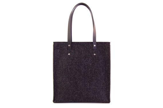BORSA TOTE in feltro di lana / borsa nera / di anonimaMenteSHOP