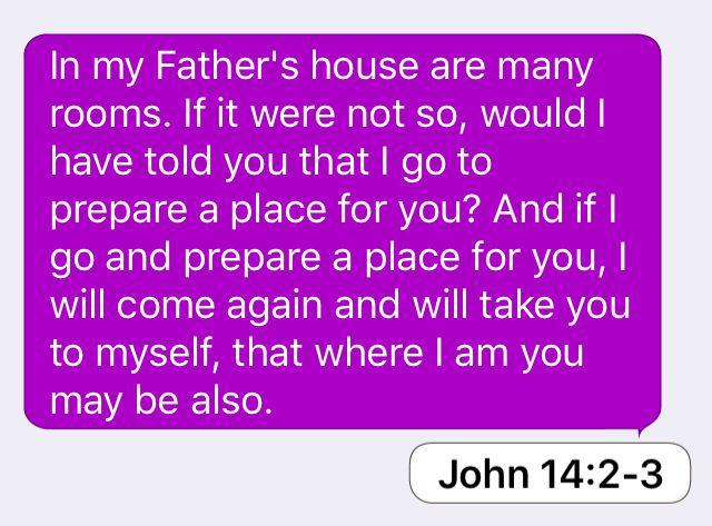 John 14:2-3: In my Father's house are many rooms. If it were not so, would I have told you that I go to prepare a place for you? And if I go and prepare a place for you, I will come again and will take you to myself, that where I am you may be also.