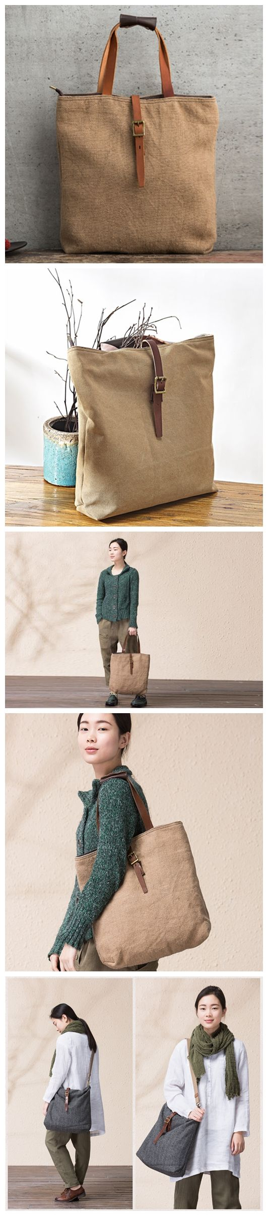 Handmade Canvas Tote Bag Handbag for Women Messenger Bag Shoulder Bag 14099 --------------------------------- - 16oz waxed canvas or Cotton & Linen - Cotton lining - Inside one zipper pocket, one phon