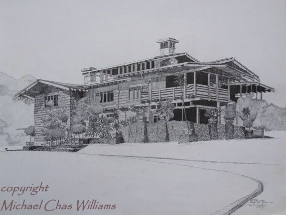 Architecture Greene And Greenes Gamble House Craftsman Style Pen Ink Fine ARt Print