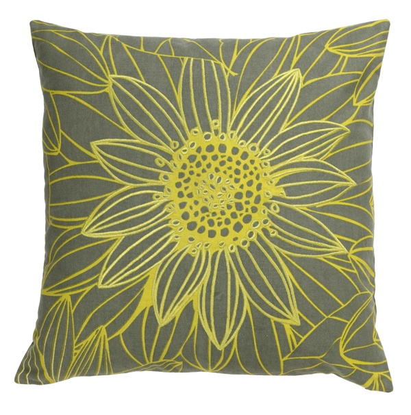 Neon yellow for today's florals. #yellow #neon #grey #floral #pillow