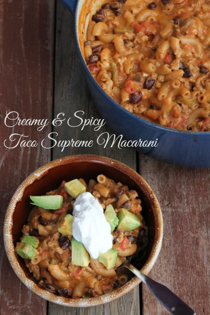 Healthy and comforting creamy taco supreme macaroni recipe. Make ahead and freezer friendly. 373 calories and 9 Weight watchers points plus.