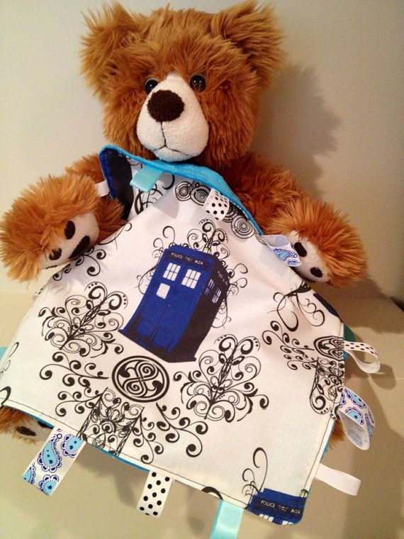Doctor Who baby blanket taggie by OffTheHookbyLora on Etsy, $19.99