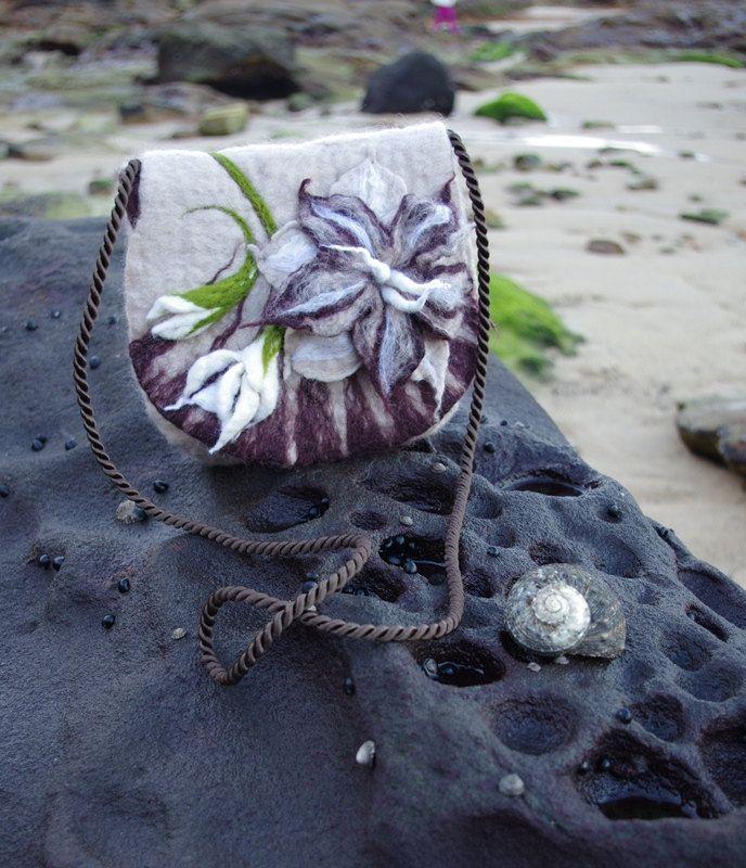 Brown Bag Felted Bag Felted Handbag Felted purse Brown felted bag Felted wool bag Boho Bags Flower Bag Small Bag Art Shoulder Bag by FeltBagsbyMarta on Etsy
