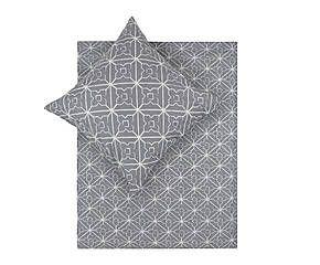Bettwäsche-Garnitur Porto, 2-tlg., grau/weiß, 135 x 200 cm