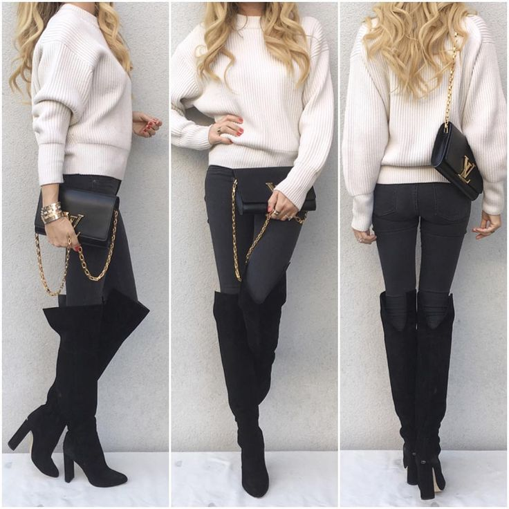 Today -  #LouisVuitton knit and 'Chain Louise' bag, #HM ('Super skinny, Super low waist') jeans with #Dior boots.