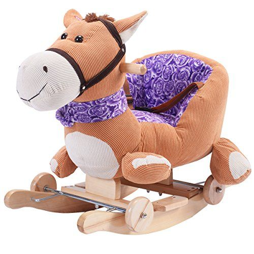 Costzon Baby Kids Toy Plush Rocking Horse Rider Toddler Seat wood Rocker w/ Sound wheel * Details can be found at