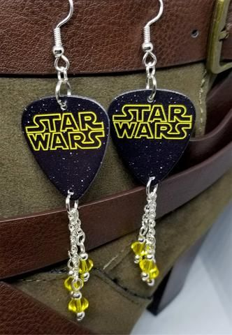 7f2a4092d Star Wars Logo Guitar Pick Earrings with Yellow Swarovski Crystal Dangles