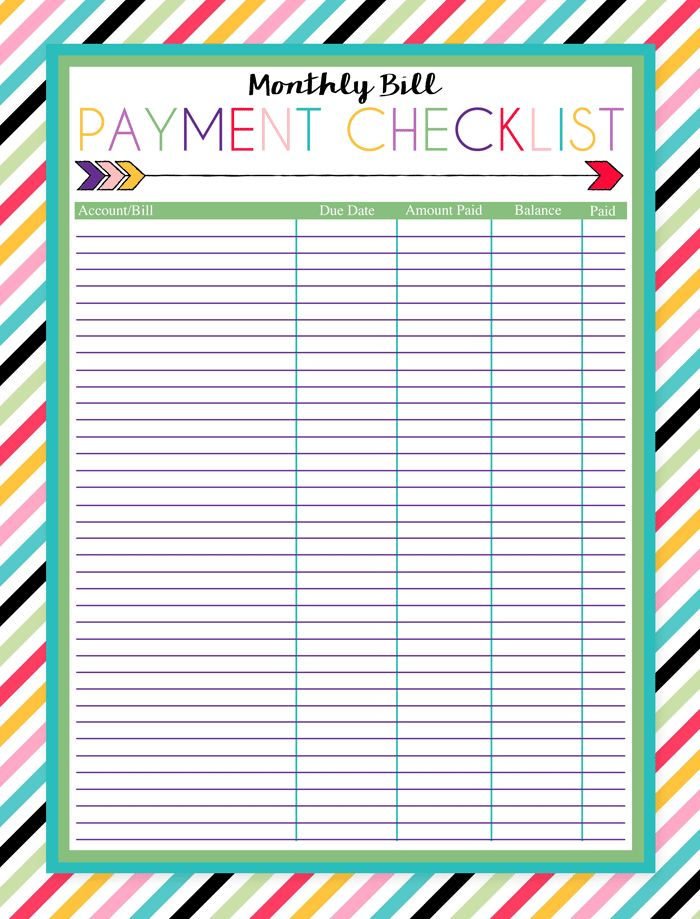 Here's a Free Bill Payment Checklist to Organize Your Bill Payments: Monthly Bill Payment Checklist