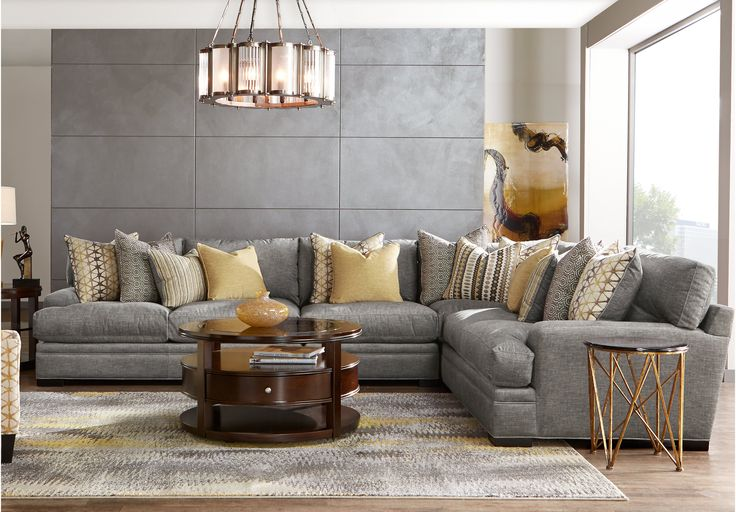 Picture of cindy crawford home palm springs gray 4 pc - Pictures of living rooms with sectionals ...