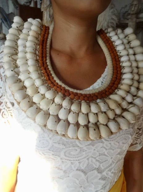 Sea Shell Necklace With Rudraksha Beads Beautiful Combination