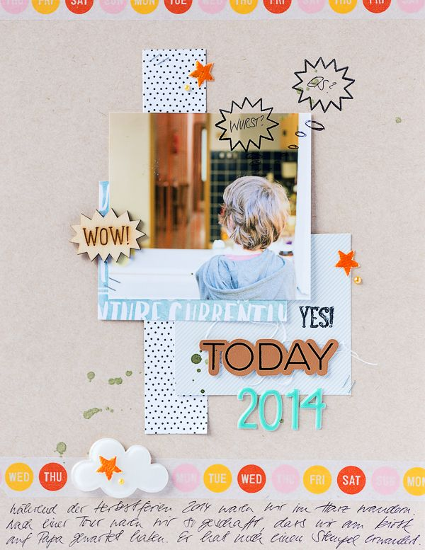 mojosanti ♥ Sandra Dietrich: Eis oder Wurst? Harte Entscheidung am Kiosk I Scrapbooking page with Freckled Fawn