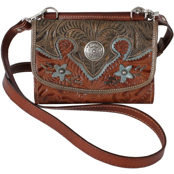 American West Desert Wildflower Small Crossbody Bag ($135) found on Polyvore featuring bags, handbags, shoulder bags, purses, accessories, bolsas, silver purse, silver handbags, brown shoulder bag and brown crossbody