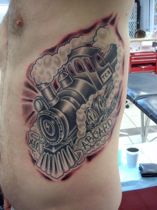 Steam Train Tattoo Steaming Train Side Tattoo
