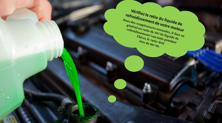 Vérifiez le liquide de refroidissement du moteur Le système de refroidissement d'une voiture est conçu non seulement pour empêcher votre moteur de surchauffer, mais aussi pour le protéger contre la corrosion. Avant que le temps ne devienne trop froid, assurez-vous d'utiliser un liquide qui a le mélange correct d'antigel et d'eau. Pour cela, vous pouvez acheter un testeur dans votre magasin de pièces automobiles local. #pneusete
