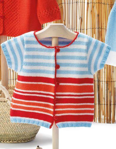Revista bebé 68 Primavera / Verano   41: Bebé Chaqueta   Azul celeste / Blanco / Coral / Rojo