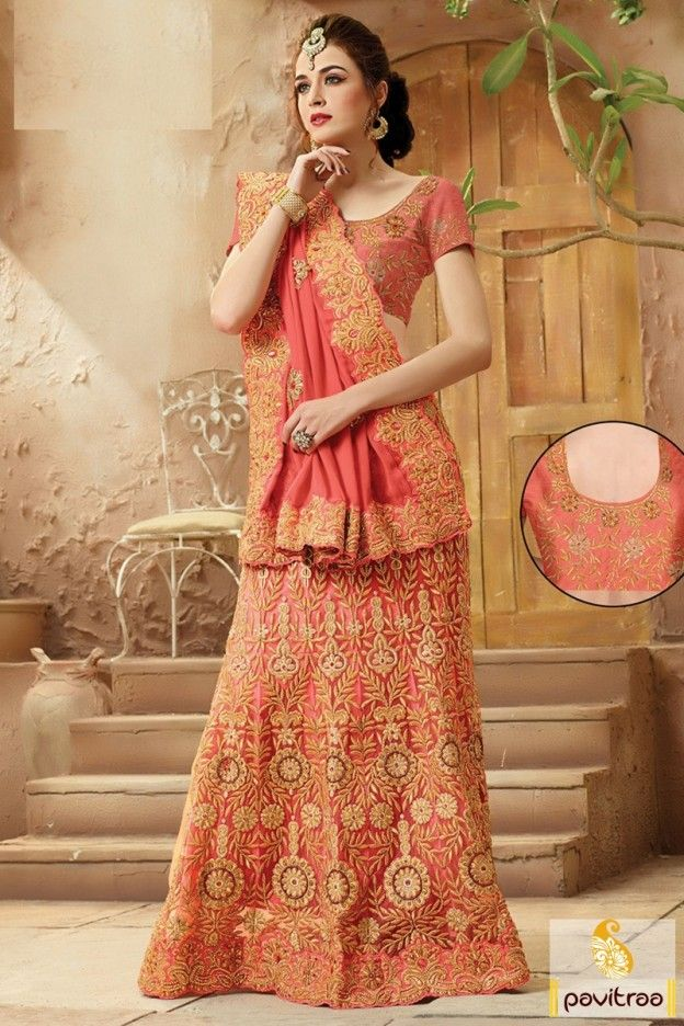 New aura of modern fashion with fashionable peach color bridal saree in wholesale and retail price. Purchase online fancy party and wedding sarees at low cost. #saree, #designersaree more: http://www.pavitraa.in/store/designer-collection/