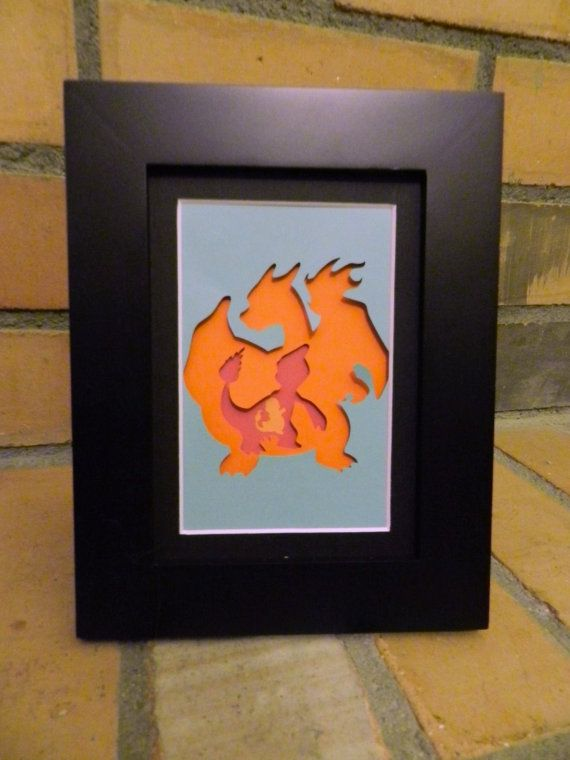 Charmander Evolution Paper Silhouette Cut-out by WickedRainStudio