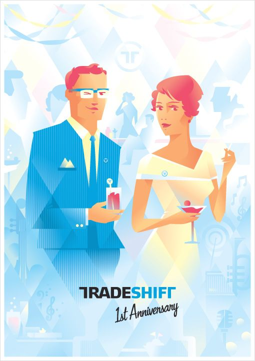 TradeShift 1st Anniversary Poster illustration