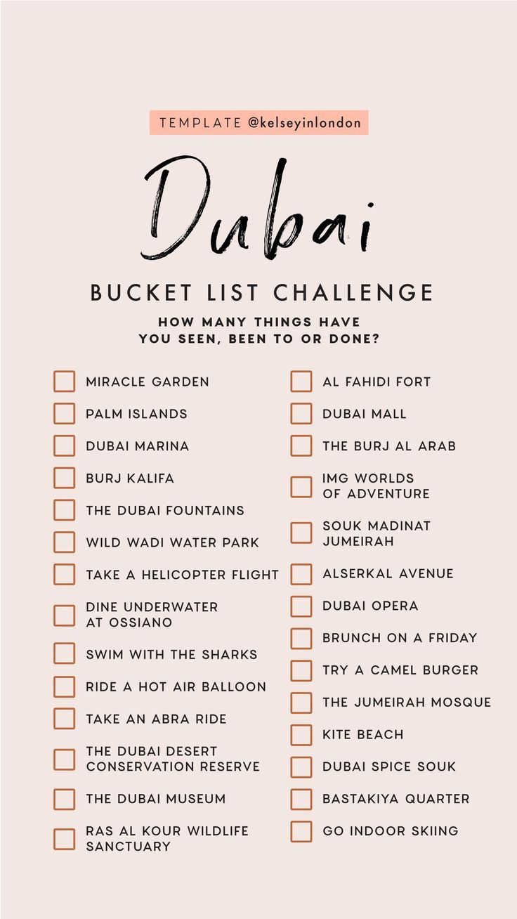 Top things to do in dubai – dubai Bucketlist – Instagram Story Template – kelsey…