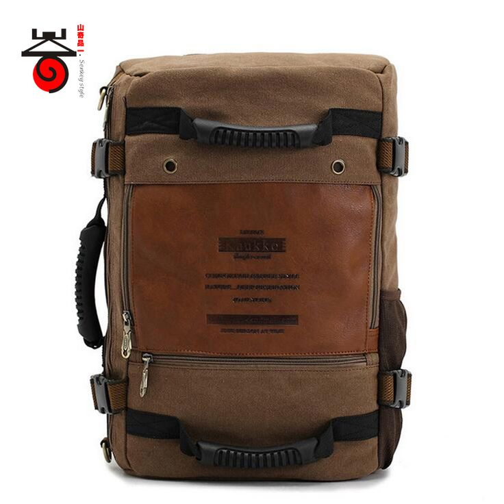 Senkey style MULTIFUNCTION Men Canvas Backpack Fashion Large Capacity Rucksacks Casual Travel for Laptop Backpacks School Bags