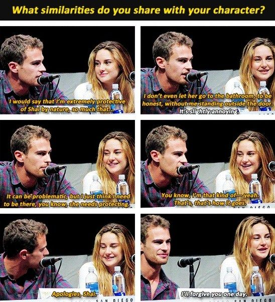 Theo James & Shailene Woodley promoting Divergent at Comic-con. They're adorable <<<< If Theo James wanted to protect me I would be totally ok with that. Just saying.