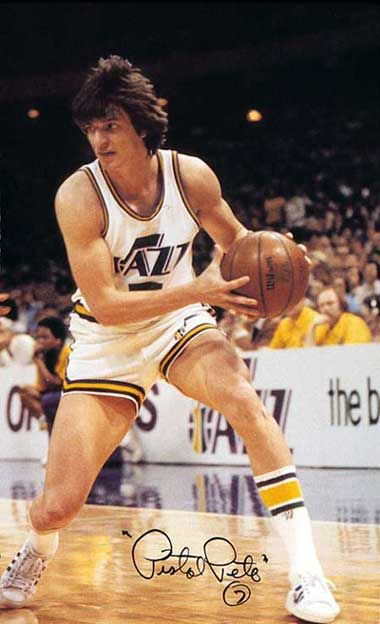 'Pistol' Pete Maravich. So ahead of his time, magical player, even the refs couldn't figure out if his moves were legal or, they were!!