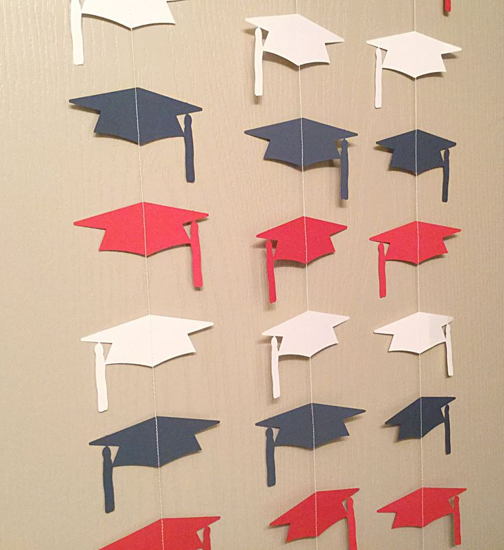 red, Whote, and Blue Graduation Cap Garland Streamers For Parties, Back Drops by thepapercove on Etsy