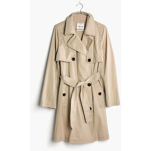 MADEWELL Abroad Trench Coat (157,470 KRW) ❤ liked on Polyvore featuring outerwear, coats, dark rope, brown coat, trench coat, collar coat, madewell and brown trench coat