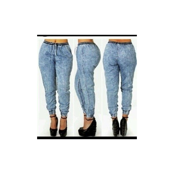 Jeans: acid wash joggers pants stylish found on Polyvore