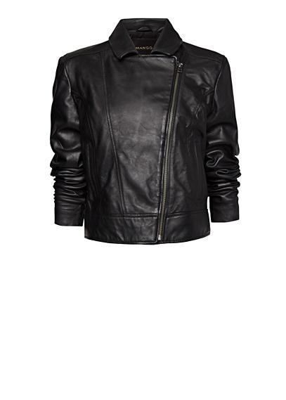 MANGO - Leather biker jacket