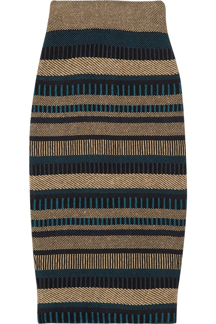 Love this print & cut.  Great way to make an ethnic print wearable.  (Burberry Prorsum high-waisted knit pencil skirt)
