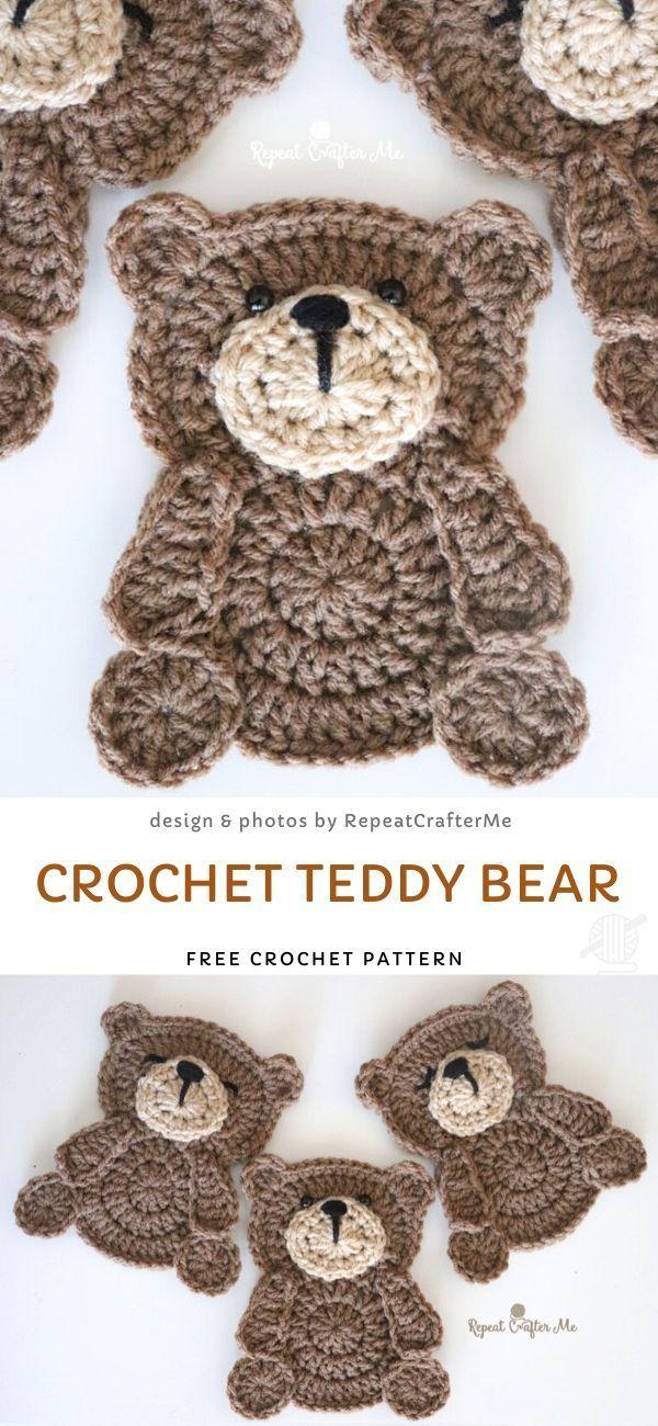Stunning Crochet Applique Ideas In 2020 Crochet Teddy Crochet Teddy Bear Crochet Bear