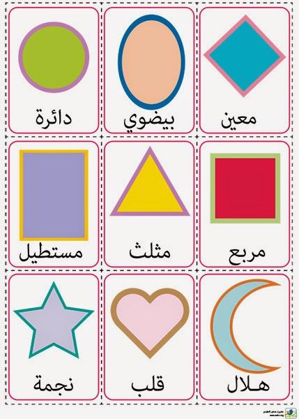 بطاقات الأشكال:ورقة للطباعة ,تضم تسع بطاقات, كل بطاقة تحمل شكلا مع اسمه ,الأشكال الموجودة هي: الدائرة, الشكل البيضوي, المعين, المستطيل, المثلث ,المربع ,النجمة ,الهلال ,القلب, تقص البطاقات و تستعمل للتدريس