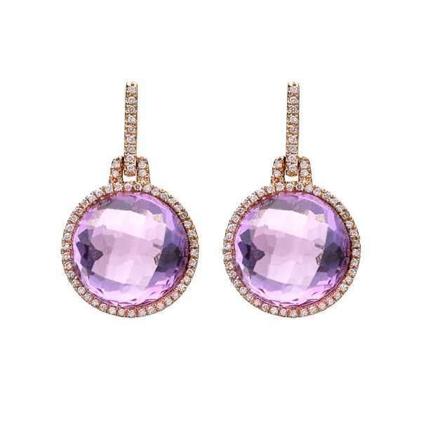 A delightful pair of beautifully faceted amethysts of 22.99cts, bordered by round brilliant cut diamonds and suspended by a diamond bar, all mounted in a fine 18ct rose gold setting. So pretty and perfect for summer!