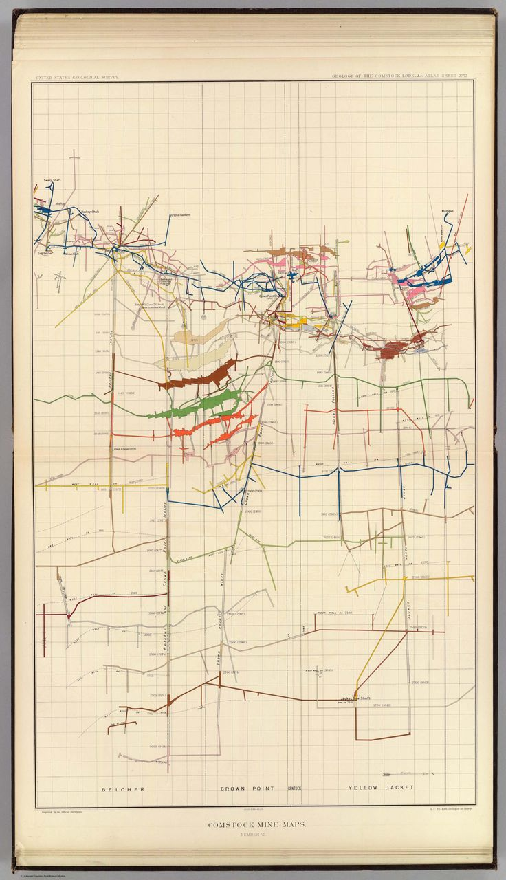 Comstock Mine Maps  –  Department Of The Interior, United States Geological Survey, Clarence King Director. Atlas To Accompany The Monograph On The Geology Of The Comstock Lode And The Washoe District By George F. Becker. Washington 1882. Julius ...