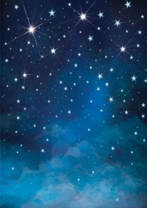 Night Blue Sky And Stars Background For Children