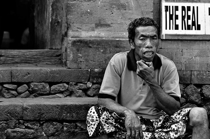 real people by dwi kresnantaka - an old man sitting in front of his house